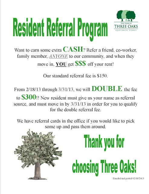 help i need some resident referral flyer ideas apartment ideas