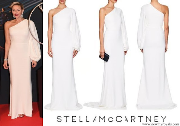 Princess Charlene wore Stella McCartney Kate Crepe One-Shoulder Gown