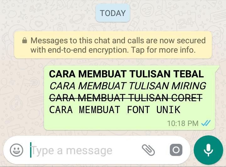 Cara Mudah Membuat Huruf di WhatsApp Menjadi Tebal Miring dan Coret