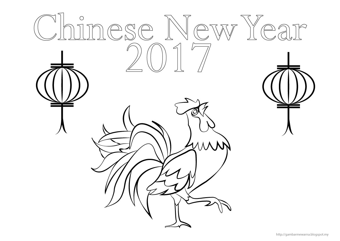 Chinese new year 2017 gambar mewarna colouring picture for New year coloring pages 2017