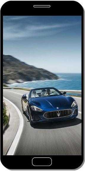 Maserati GranTurismo Bleue Beau Paysage - Fond d'Écran en QHD pour Mobile