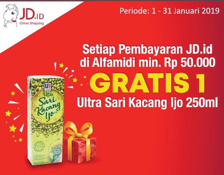 #Alfamidi - #Promo Bayar #JDID Min 50K #Gratis 1 Ultra Sari Kacang Ijo 250ml (s.d 31 Jan 2019)