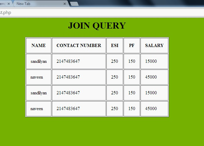 display the table using inner join query