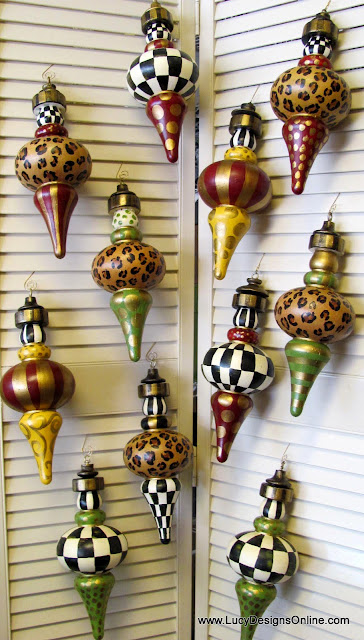 hand painted whimsical checked ornaments