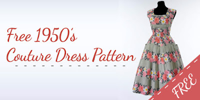 The Vintage Pattern Files: Free 1950s Sewing Pattern - Couture Inspired Dress