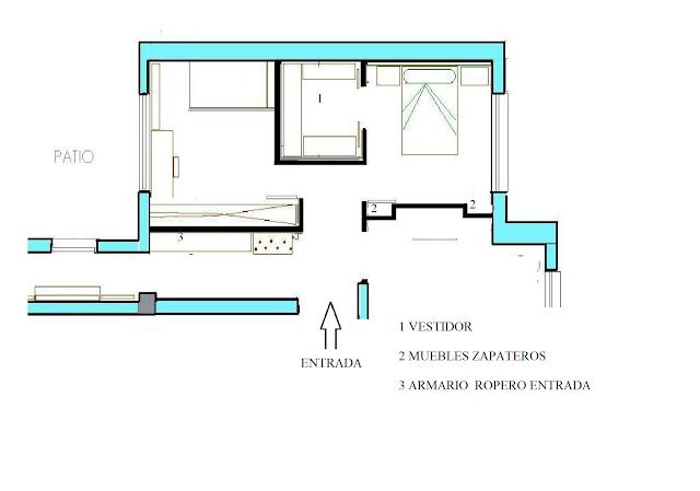 plano,vestidor,dormitorio espacios pequeños. www.lolatorgadecoracion.es
