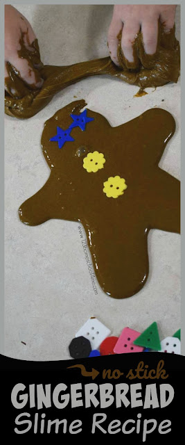 No-Stick Gingerbread Slime Recipe - this amazing, FUN sensory play recipe is the perfect Christmas Activity for Kids with its AMAZING smell! This borax slime recipe sheets, pulls, oozes, and easily pulls back together without sticking! This gingerbread activity  is great for kids - toddler, preschool, kindergarten, first grade. Seriously the BEST slime recipe that is super easy to make.