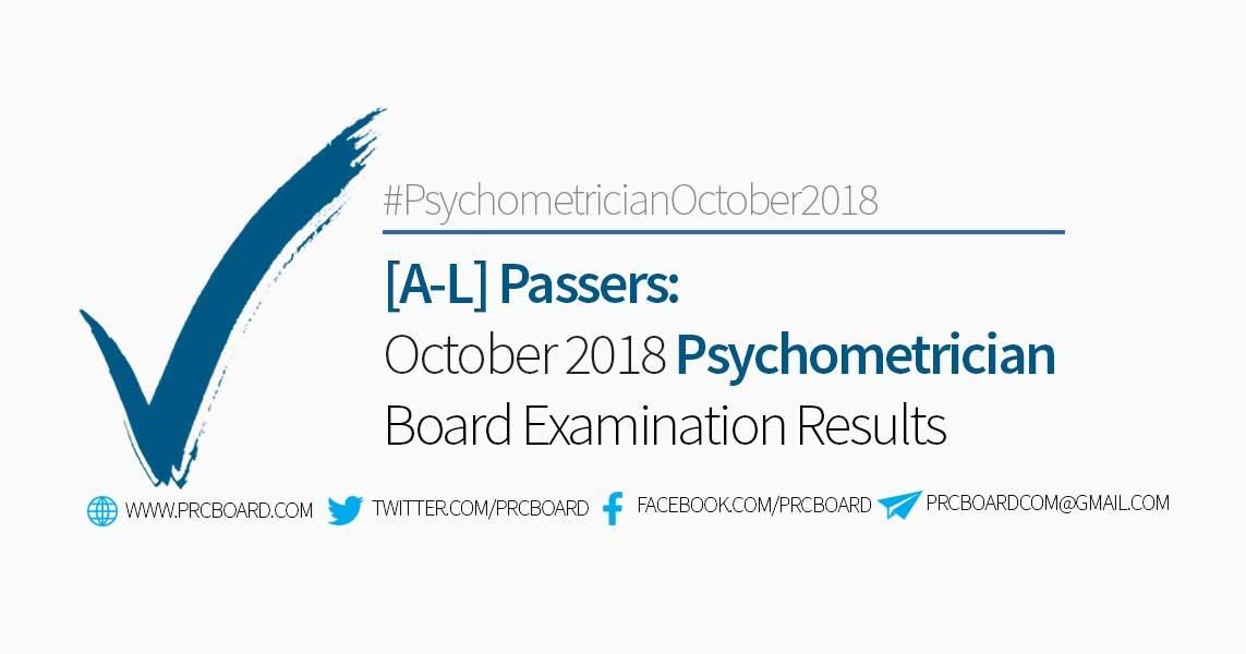 psychometrician board exam results october 2018 a l passers rh prcboard com