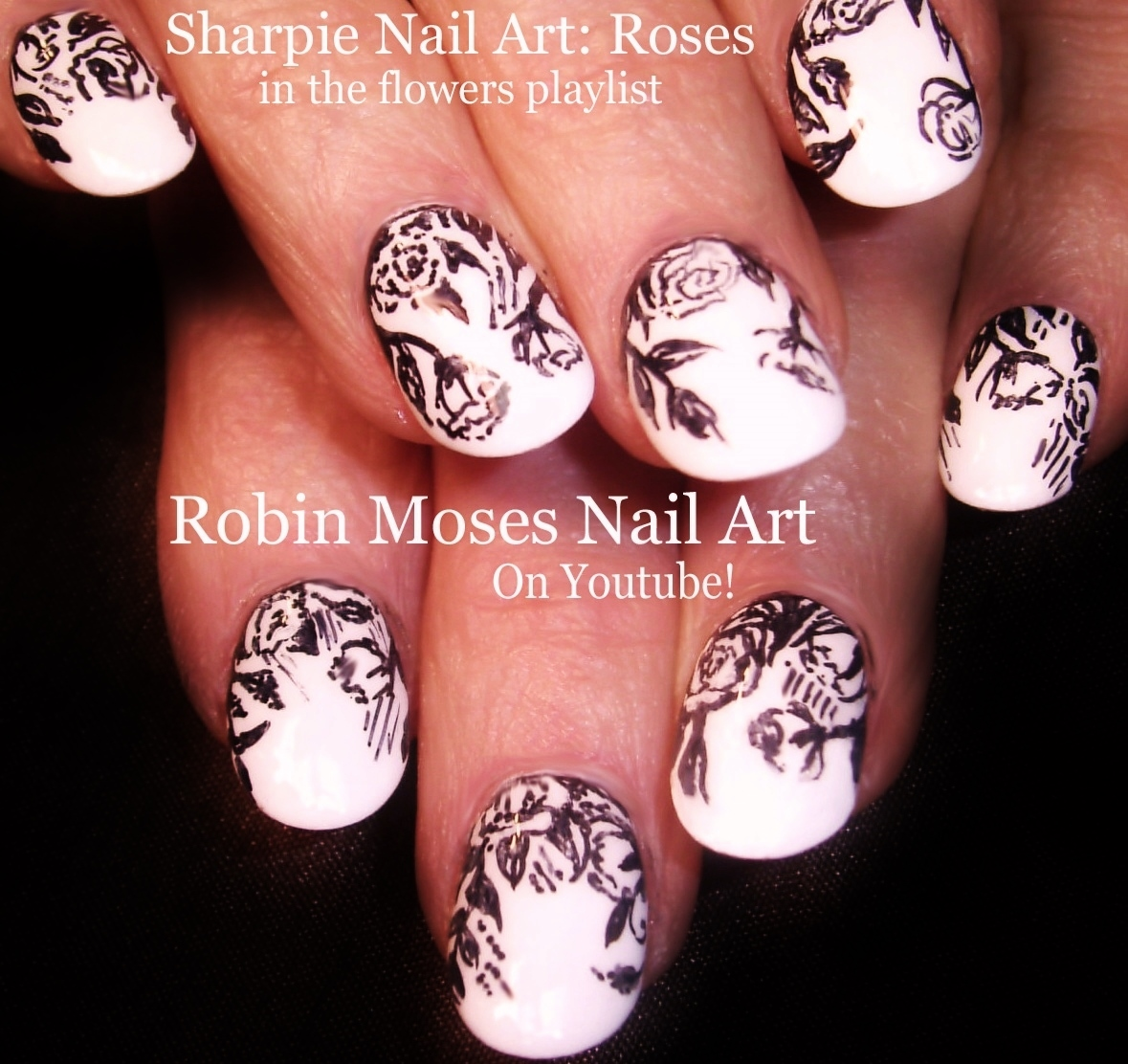 Rose Nail Art Tutorial: Robin Moses Nail Art: Rosegold Nails. How To Paint Roses