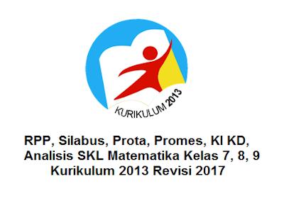 RPP, Silabus, Prota, Promes, KI KD, Analisis SKL Matematika Kelas 7, 8, 9 Kurikulum 2013 Revisi 2017