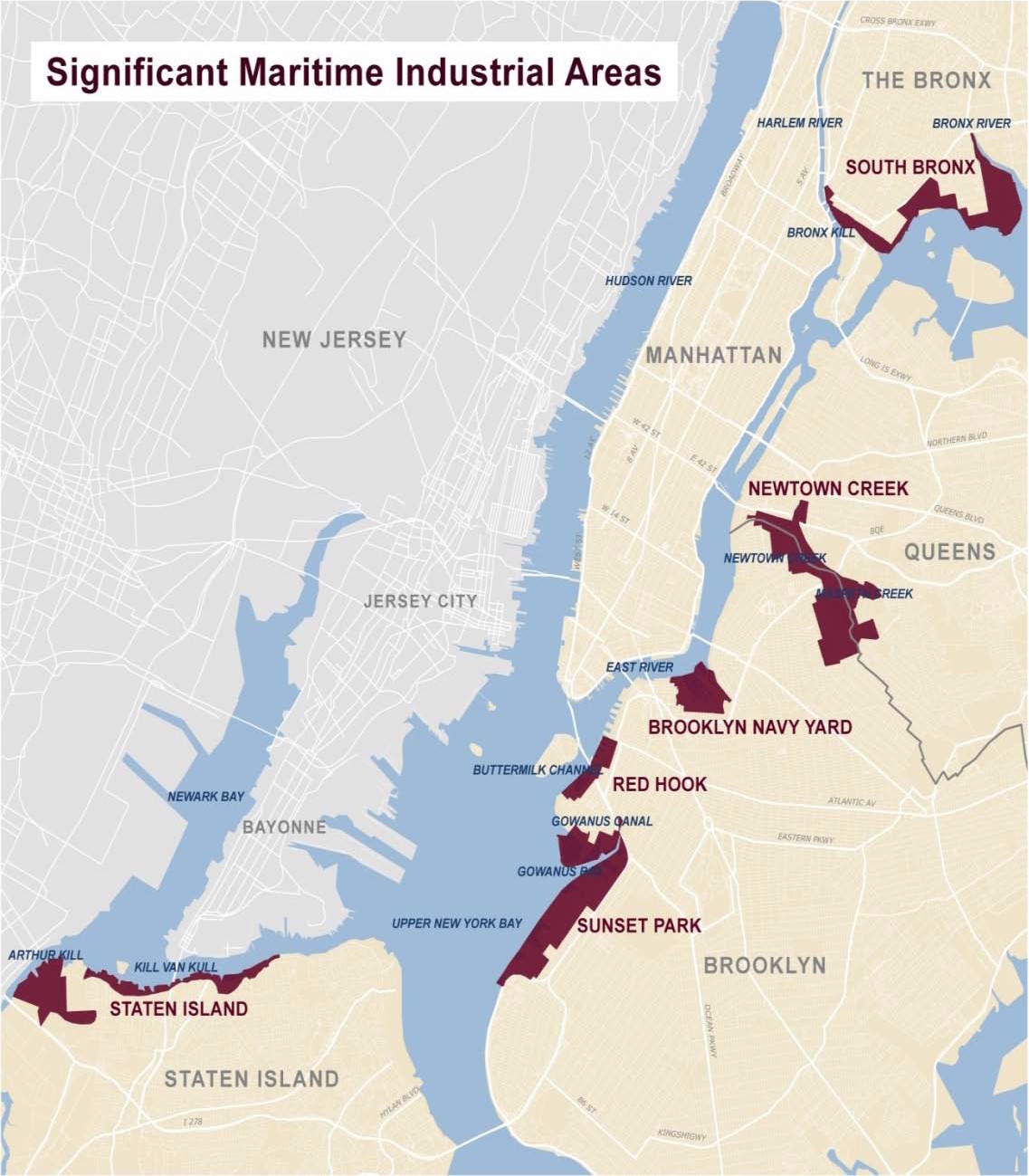 Significant maritime industrial areas in New York