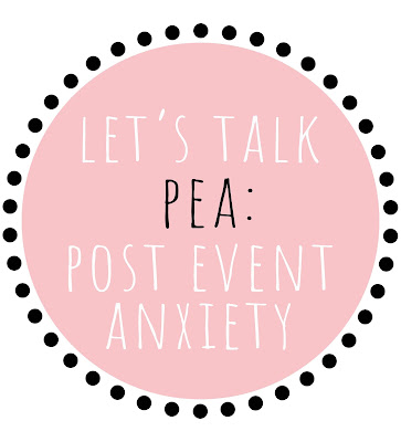 A pink circle surrounded by black dots, and white writing that read 'let's talk PEA: post event anxiety'