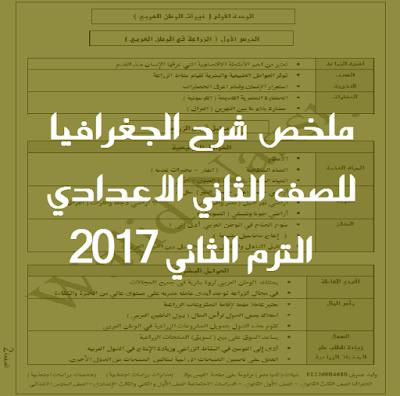 ملخص شرح الجغرافيا للصف الثاني الاعدادي الترم الثاني 2017