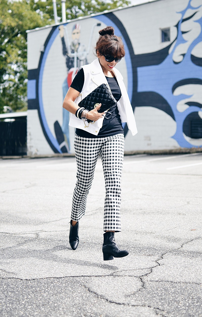 Outfit with black and white gingham pants