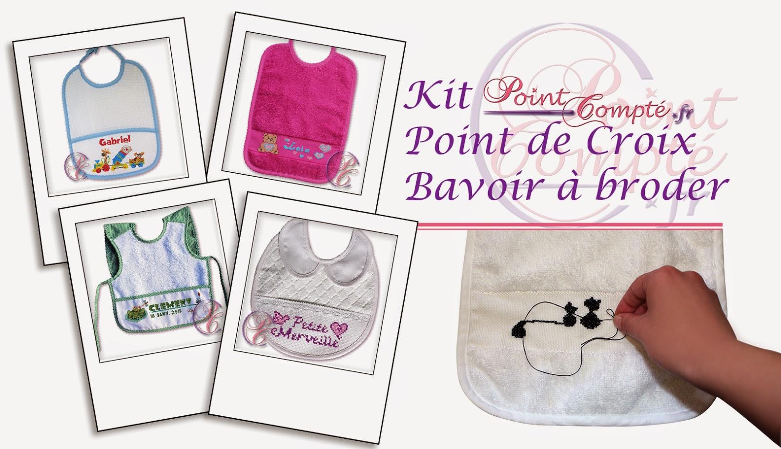 kit de point compt kit bavoir a broder point de croix. Black Bedroom Furniture Sets. Home Design Ideas