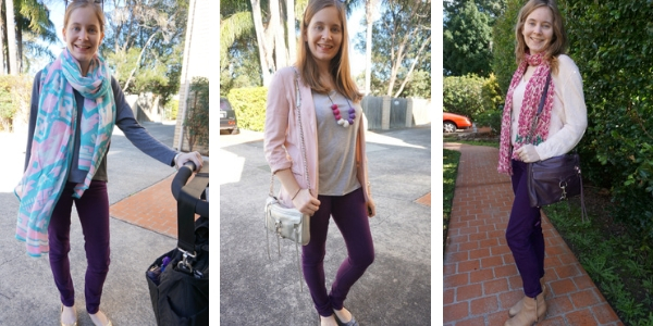 how to wear purple jeans with pink | away from the blue