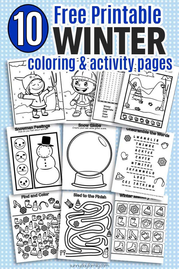 HUGE pack of printable winter coloring pages and winter activities for kids! Includes coloring pages, puzzles, games, seek and find, and winter matching, all in ink friendly black and white so kids can color them too. Perfect for winter break, snow days, sick days, or anytime! #wintertheme #printables #coloringpages #kidsactivities