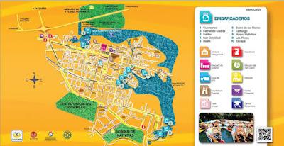 Mapa turístico de la Delegación Xochimilco