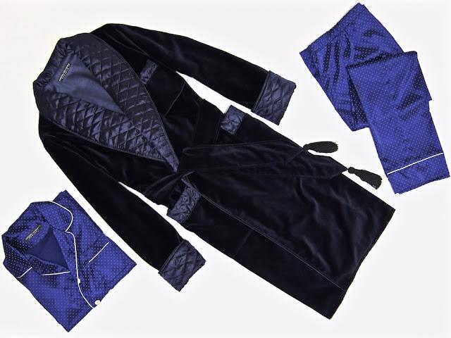 Mens warm velvet dressing gown blue quilted silk smoking jacket robe