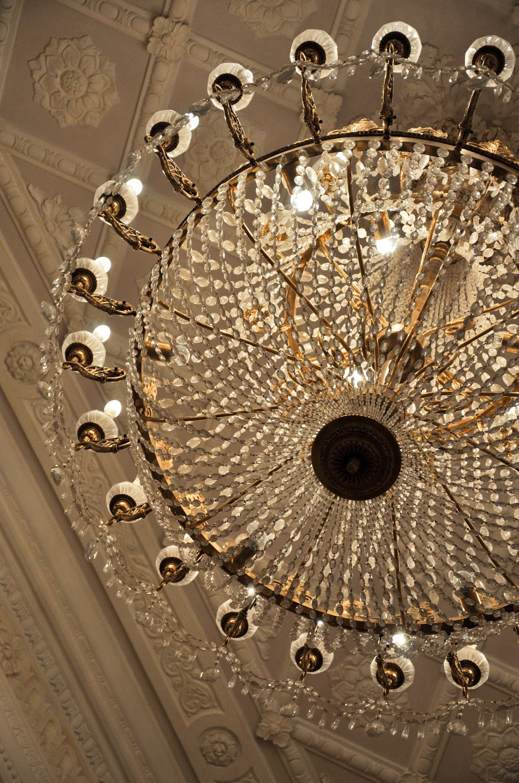 A close-up of a crystal chandelier, La Fenice, Venice, Italy
