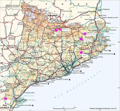 Mapa de fagedes de Catalunya Grevolosa el Retaule Santa Fe Gresolet