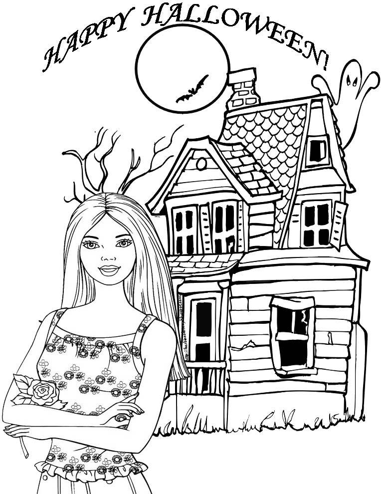 Barbie Halloween Coloring Pages For Kids 1