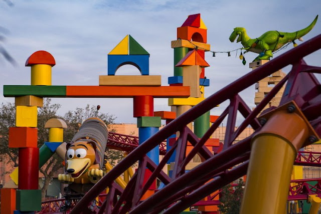 TOY STORY LAND AT WALT DISNEY WORLD RESORT (LAKE BUENA VISTA, Fla.) Toy Story Land at Walt Disney World Resort in Florida opens June 30, 2018. Located at Disney's Hollywood Studios, the new 11-acre Land will make guests feel like they have shrunk to the size of a toy in the setting of Andy's backyard. Guests will whoosh along on a family-friendly roller coaster, Slinky Dog Dash (pictured under development), take a spin aboard Alien Swirling Saucers and score high on the midway at Toy Story Mania! (Matt Stroshane, photographer)