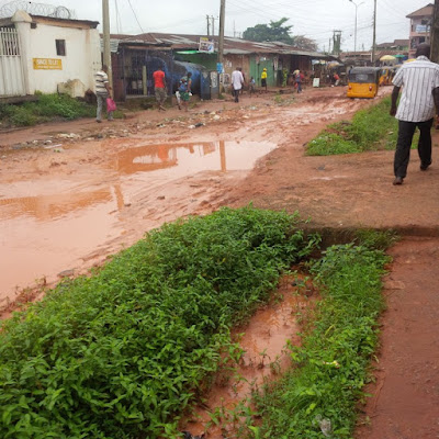 Bad State Of Erediauwa Road In Benin City, Edo State