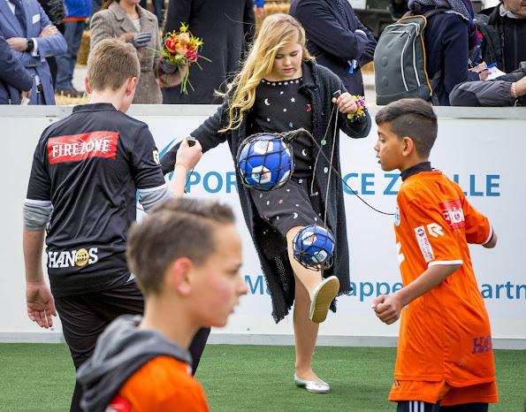 King Willem-Alexander, Queen Maxima, Princess Amalia, Princess Alexia and Princess Ariane, Princess Laurentien attend the 2016 Kings Day celebration in Zwolle. Pili Carrera Dress, Zara Lace Dress
