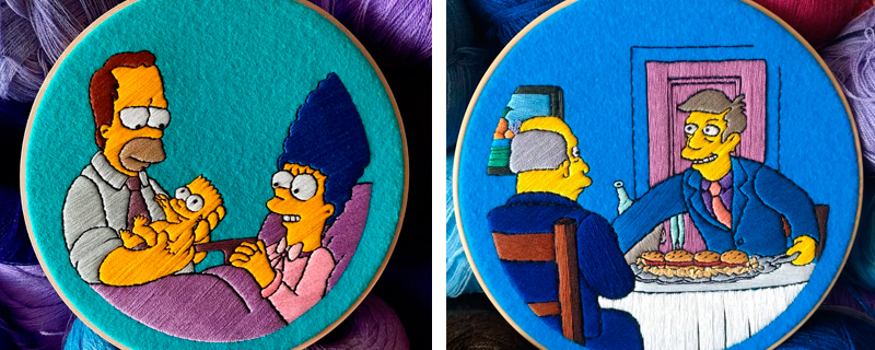 Bastidores bordados de los Simpson para decorar tu pared