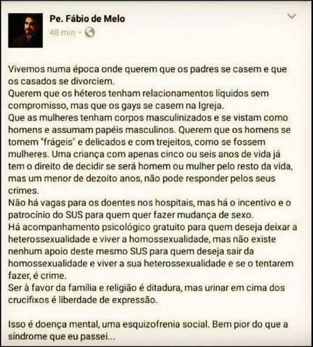 Padre Fábio de Melo nega autoria de textão homofóbico sobre 'cura gay'