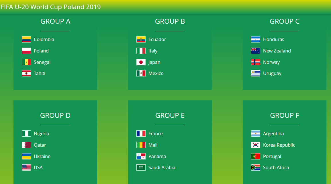 Argentina World Cup Schedule 2020.The 2019 Fifa U 20 World Cup Fixtures Time Dates Tv And