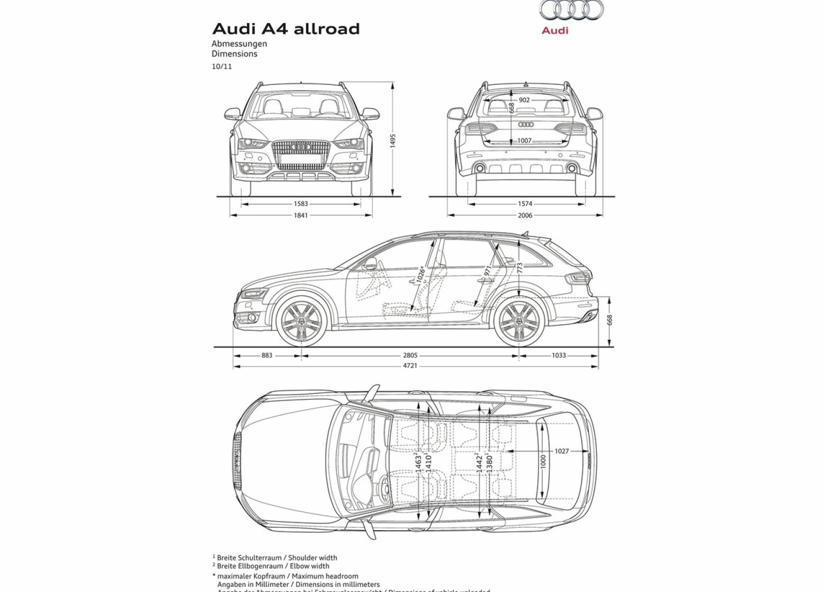 Dimension Audi A4 Audi A4 Blueprint Dimensions
