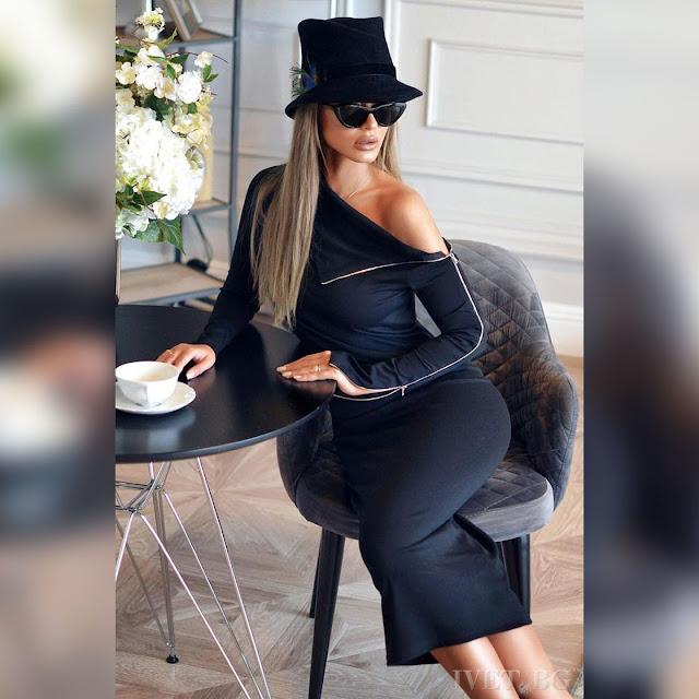 Μεσάτο μίντι μαύρο φόρεμα ROSALEE