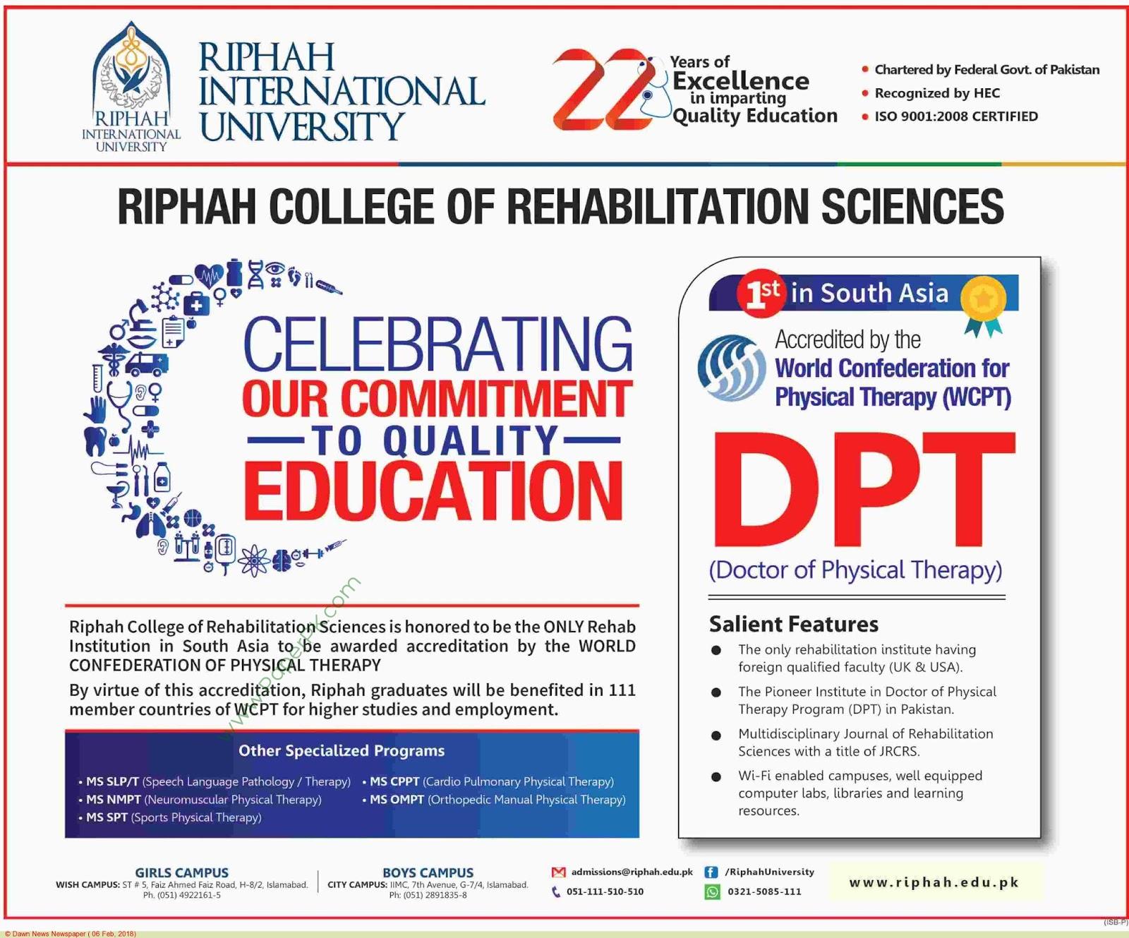 Riphah International University Jobs 2018 Lahore – Wonderful