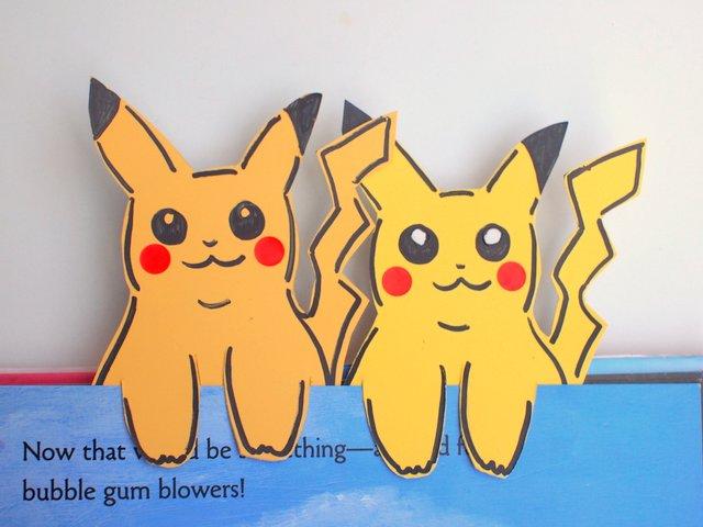 Paint chip pokemon pikachu bookmark pink stripey socks for Pokemon crafts for kids