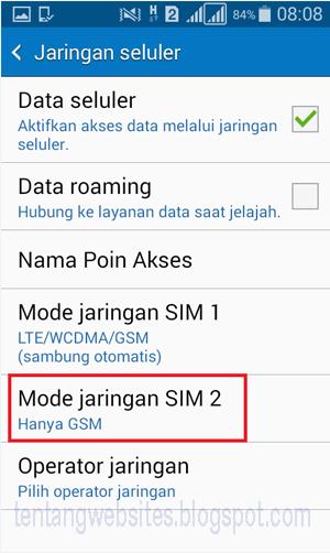 Cara Setting Jaringan internet pada android dual SIM