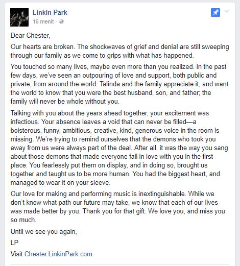 Linkin Park Release Statment On The Death Of Chester Bennington