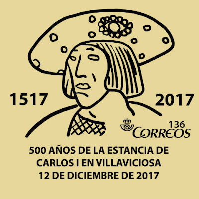 Matasellos de los 500 años de la estancia de Carlos I en Villaviciosa