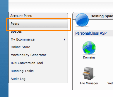 Create a Peer Demo account in WebsitePanel
