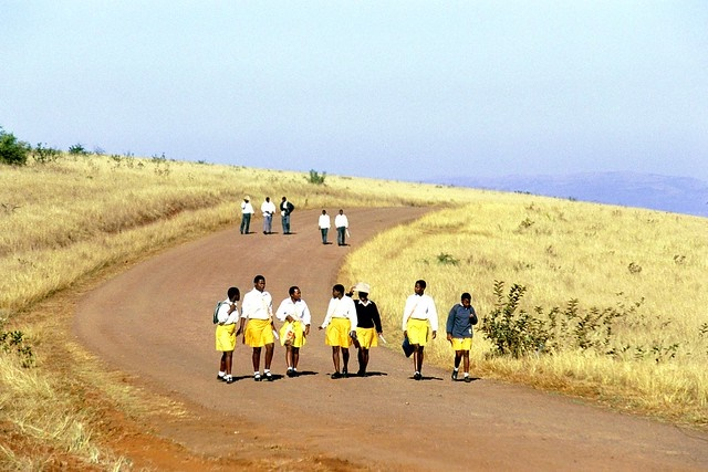School children in South Africa walk long distances to and from school