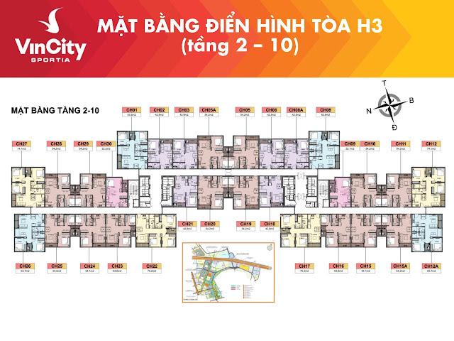 """""""Mặt bằng Vincity Sportia tòa H03 từ tầng 2 tới tầng 10"""""""