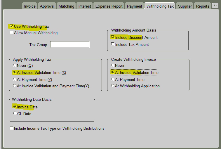 What is Withholding Tax : Withholding Tax Setups in Oracle Application