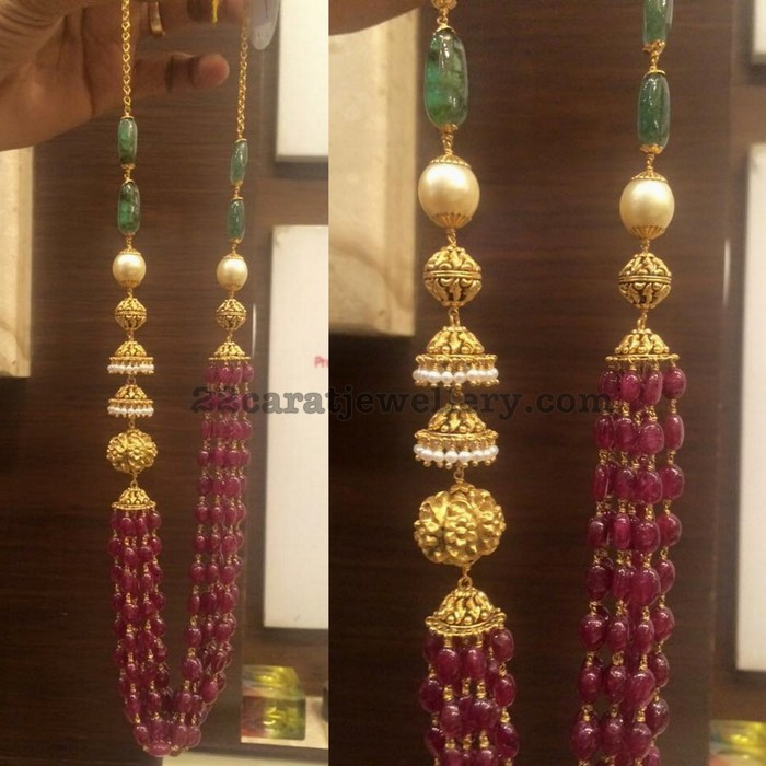 340353a80cb76 Ruby Drops Necklace with Jhumka Design - Jewellery Designs