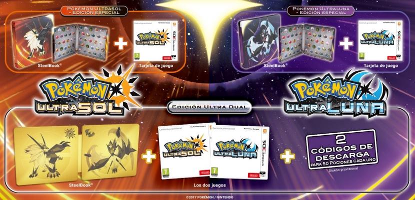 Pokémon UltraSol y Pokémon UltraLuna muestran sus ediciones especiales