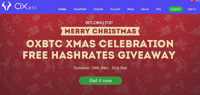 FREE GIVEAWAY 1-1000 GHS buat Mining Bitcoin dari OXBTC