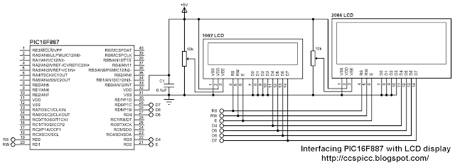 PIC16F887 Interfacing with LCD (1602 and 2004) circuit