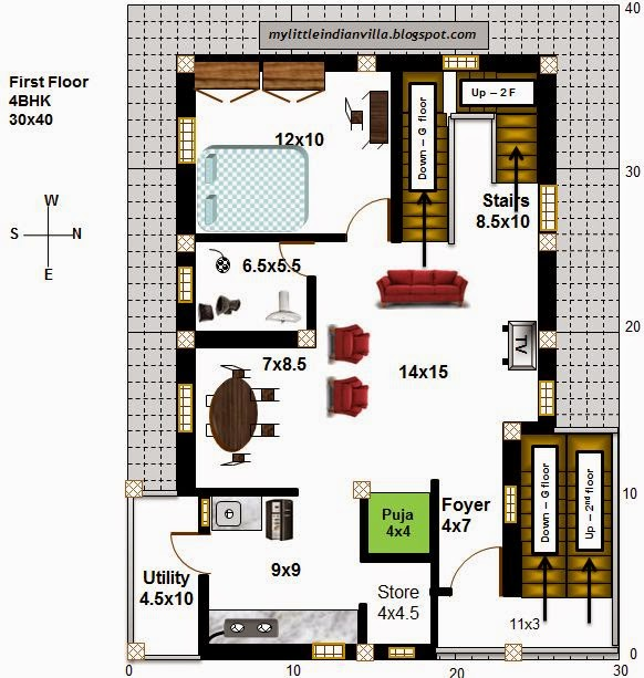 My little indian villa 54 r47 4bhk in 30x40 east facing for Indian villa plans