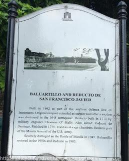 Baluartillo and Reducto De San Francisco Javier sign