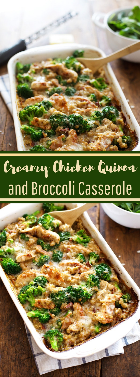 Creamy Chicken Quinoa and Broccoli Casserole #healthy #lowcarb